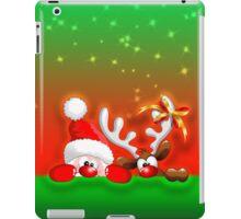 Funny Christmas Santa and Reindeer Cartoon iPad Case/Skin