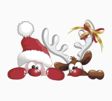Funny Christmas Santa and Reindeer Cartoon Kids Clothes