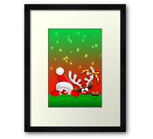 Funny Christmas Santa and Reindeer Cartoon Framed Print