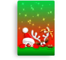 Funny Christmas Santa and Reindeer Cartoon Canvas Print