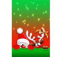 Funny Christmas Santa and Reindeer Cartoon Photographic Print