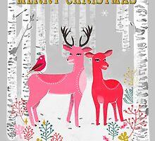 Woodland Christmas Deer by Andrea Lauren  by Andrea Lauren