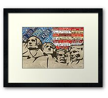Mount Rushmore Monument Vintage Recycled License Plate Art Framed Print