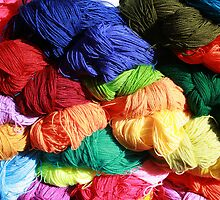 Bright Colored Skeins of Wool by rhamm