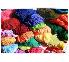Bright Colored Skeins of Wool Poster