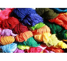 Bright Colored Skeins of Wool Photographic Print