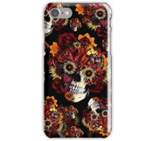 Floral ohm Skull in black and red.  iPhone Case/Skin
