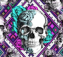 Aztec rose skull in purple and teal. by KristyPatterson
