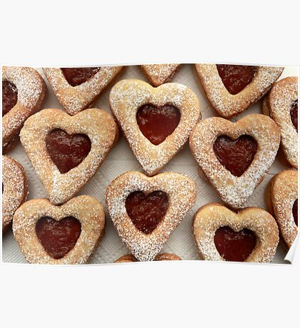 biscuits hearts with jam Poster