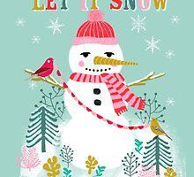 Holiday Snowman by Andrea Lauren  by Andrea Lauren