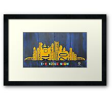 Pittsburgh Skyline Silhouette Vintage Recycled License Plate Art Framed Print
