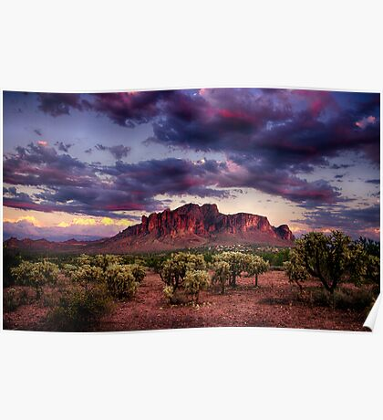 Sunset at the Superstitions Poster