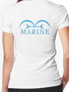 One Piece Marine Logo Women's Fitted V-Neck T-Shirt