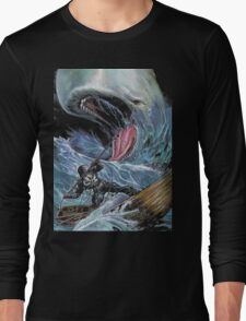 in the heart of the sea Mobydick VS Frank Castle ilustration Long Sleeve T-Shirt
