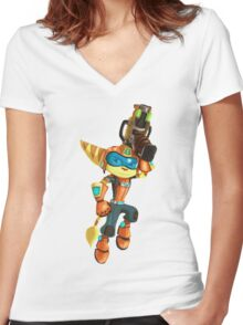 Q-Force Ratchet Women's Fitted V-Neck T-Shirt