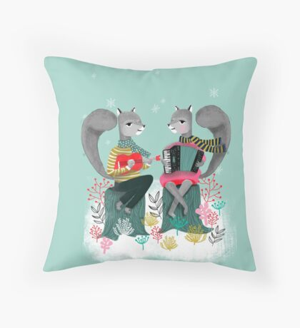 Squirrels' Christmas by Andrea Lauren  Throw Pillow