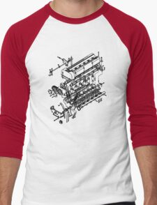 TC24-B1 Exploded View Men's Baseball ¾ T-Shirt