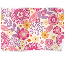 Magical flowers pattern Poster