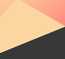 Simple Minimal Peach, Coral, & Black Geometric by Blkstrawberry