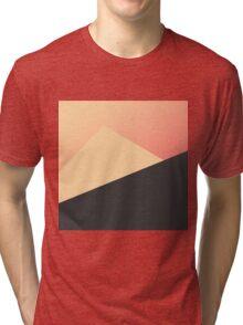 Simple Minimal Peach, Coral, & Black Geometric Tri-blend T-Shirt