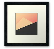 Simple Minimal Peach, Coral, & Black Geometric Framed Print