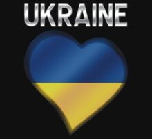 Ukraine - Ukrainian Flag Heart & Text - Metallic by graphix