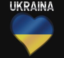 Ukraina - Ukrainian Flag Heart & Text - Metallic by graphix