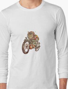 Berserk Steampunk Motorcycle Cat Long Sleeve T-Shirt