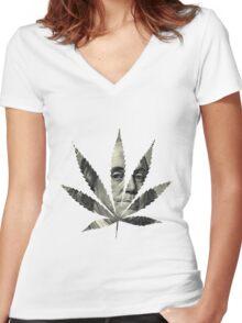 100 Dollar Pot Leaf Women's Fitted V-Neck T-Shirt
