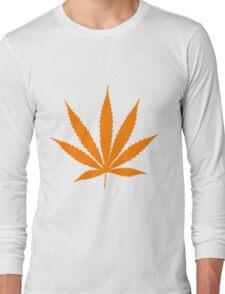 Orange Pot Leaf Long Sleeve T-Shirt