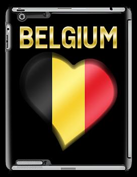 Belgium - Belgian Flag Heart & Text - Metallic by graphix