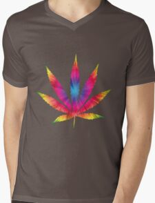 Rainbow Pot Leaf Mens V-Neck T-Shirt