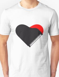 Piano Heart Love Design T-Shirt