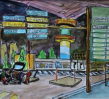 Watercolor Sketch - Hamburg Airport at Night by Igor Pozdnyakov