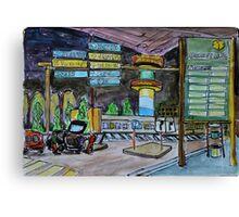Watercolor Sketch - Hamburg Airport at Night Canvas Print