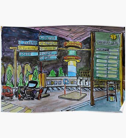 Watercolor Sketch - Hamburg Airport at Night Poster