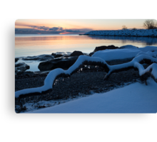 Icy, Snowy Winter Sunrise on the Lake Canvas Print