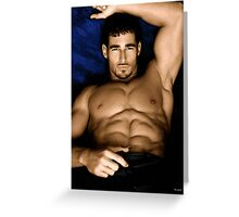 Sultry Man On Bed Greeting Card