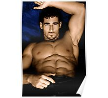 Sultry Man On Bed Poster