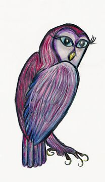 Purple-Feathered Blue-Eyed Owl by Fiona Lokot