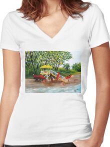 Maui Guard Tower...................... Women's Fitted V-Neck T-Shirt