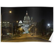Austin Images - The Texas State Capitol at Night looking South Poster