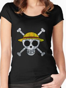 One Piece Straw Hat Pirates Logo Women's Fitted Scoop T-Shirt