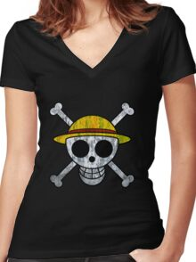 One Piece Straw Hat Pirates Logo Women's Fitted V-Neck T-Shirt