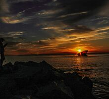 Sunken Ship Sunset by MattyBoh424