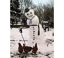 Snow lady and hens Photographic Print