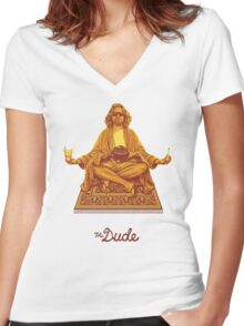 The Dude Budha The Big Lebowski Women's Fitted V-Neck T-Shirt