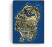 Grand Theft Auto V Map Canvas Print