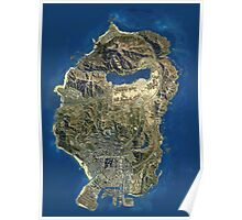 Grand Theft Auto V Map Poster