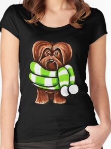 Chocolate Havanese Striped Winter Scarf Women's Fitted Scoop T-Shirt